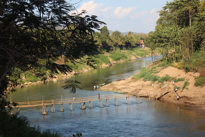 Bamboo bridge over the Nam Khan river