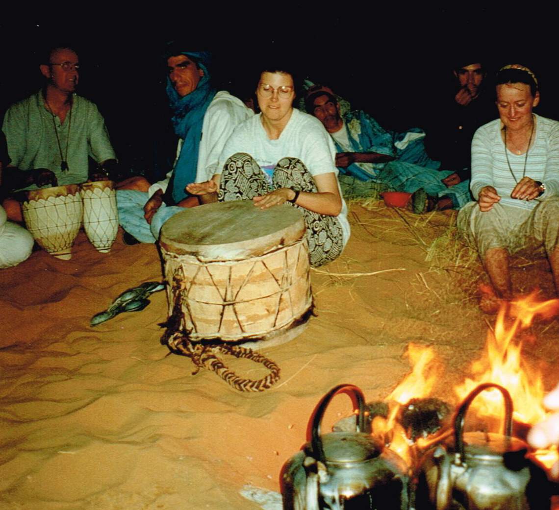Playing drums with the Tuaregs in Morocco (as part of a group).