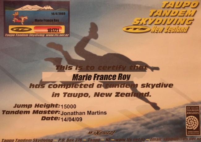 Tandem Skydive Certificate