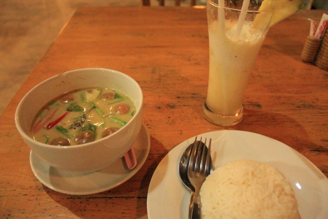 All this for $5: green curry, rice, fruit shake (Koh Mook)