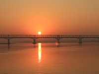 Sunrise over Pakkoku Bridge