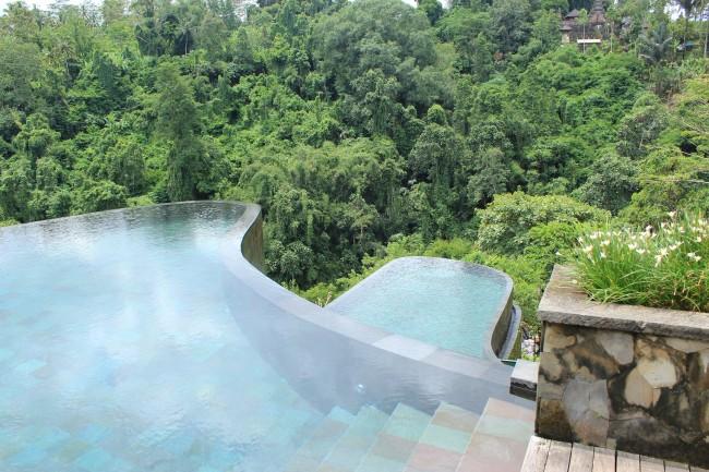 The fancy pool on two levels (Ubud Bali)