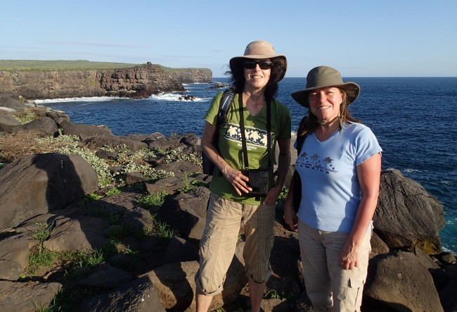 Sporting our Tilley hats on Española (Galapagos)