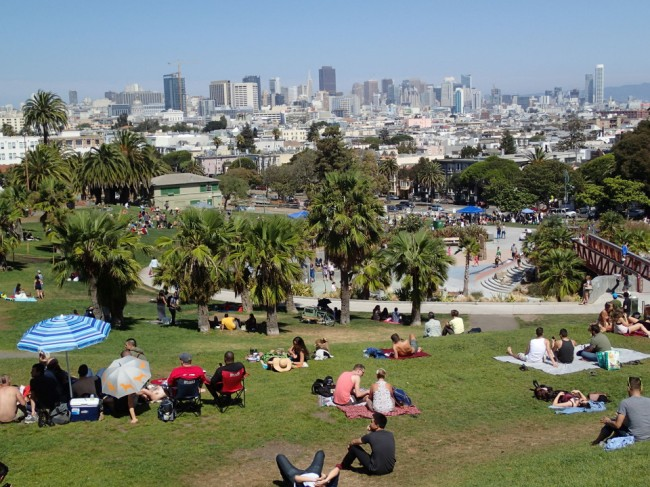 Dolores Park and SF skyline