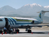 A plane from the now defunct Aero Continente on the tarmac in Arequipa, Peru