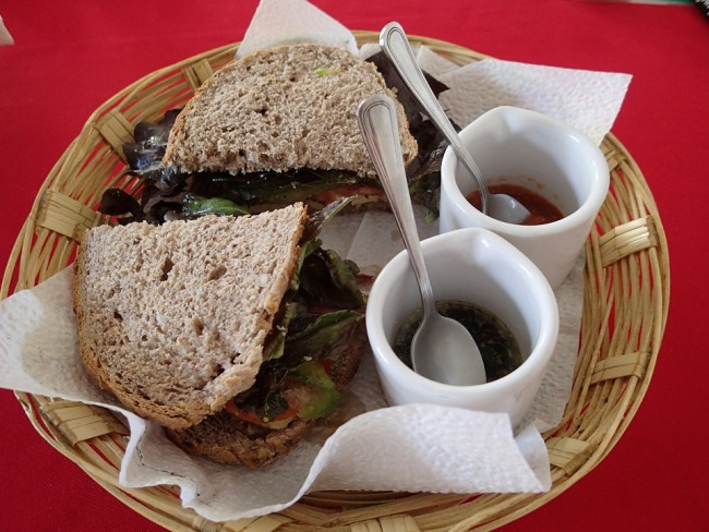 This sandwich is from Cafe Cultural Fika, but bakery Boulenc also makes delicious sandwiches (Oaxaca)