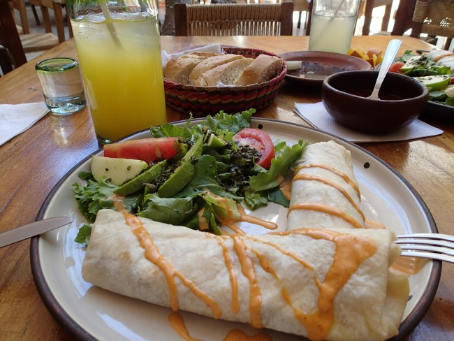 Vegetable burritos at La Biznaga (Oaxaca)