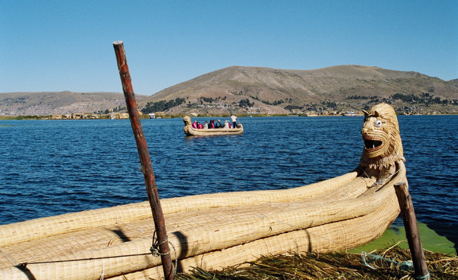 Reed boats on Lake Titicaca, Peru