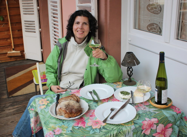 Self-catering in France: fresh bread, local cheese, and some white wine. What else do you need?.