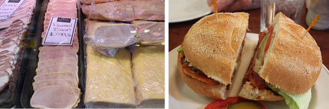 Peameal bacon and the sandwich at St-Lawrence Market (Toronto)