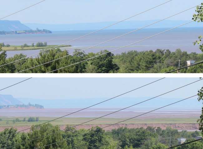 High and low tides in Minas Basin (Wolfville)