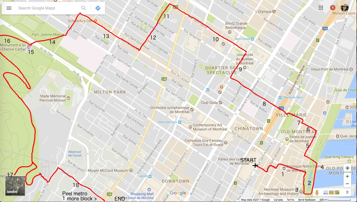 Montreal walk map