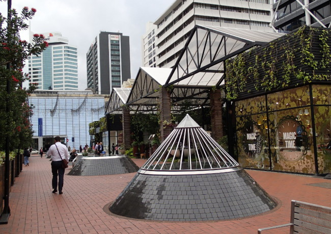 Pedestrian mall with interesting conic sculptures (Auckland, New Zealand)