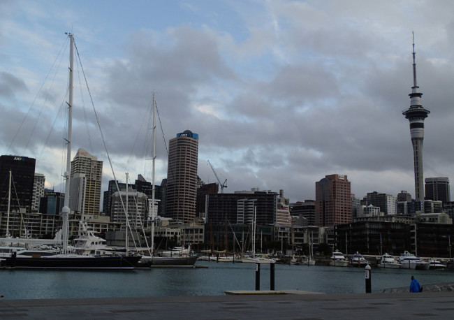 Auckland's viiaduct and skyline