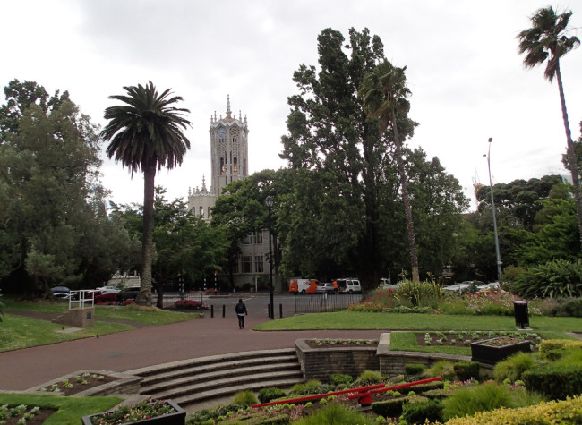 Looking out form ALbert Park toward the University of Auckland (New Zealand)