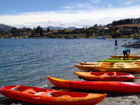 Kayaks for rent on Lake Wanaka (New Zealand)