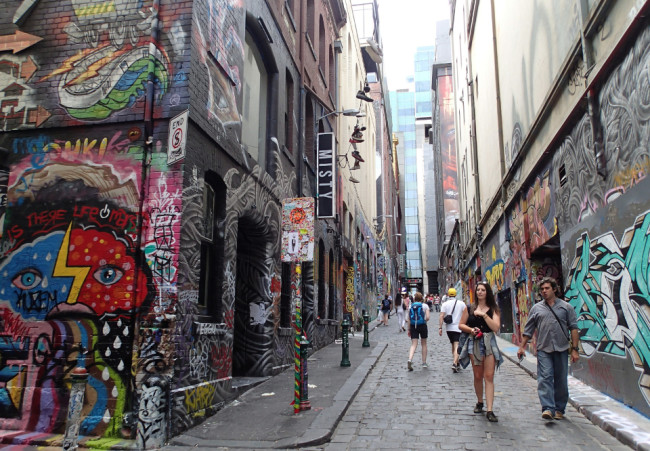 Street art gone crazy on Hosier Lane