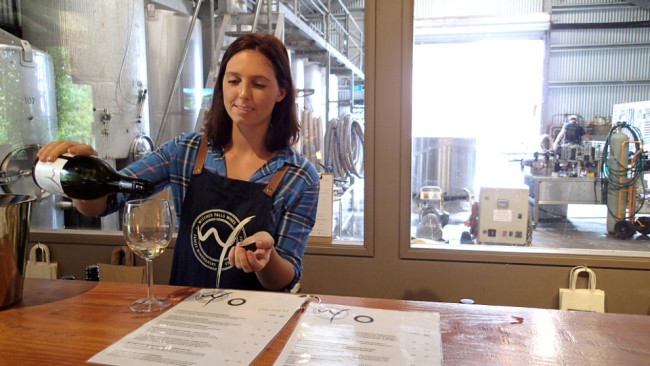 Sampling wines at Witches Falls Winery (Tamborine Mountain)