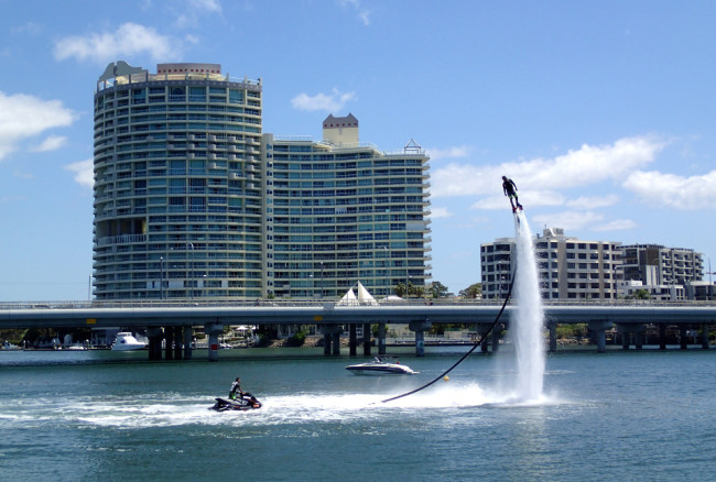 Hydro flying at Main Beach (Gold Coast)