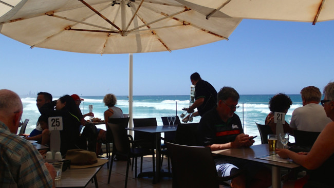 Having lunch at Currumbin Beach Vikings restaurant (Gold Coast)