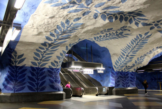 Art inside Kungstradgarden metro station, Stockholm