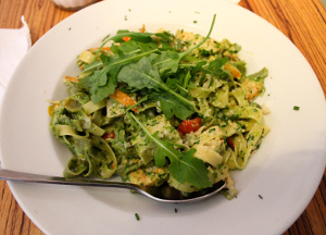 Tagliatelle with chicken from Paludan Bogcafe (Copenhagen)