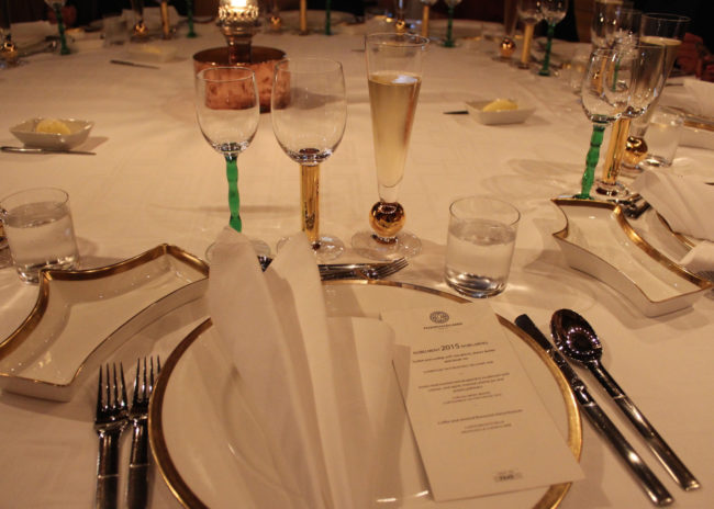 a Nobel dinner 2015 place set at Stadshuskällaren, Stockholm