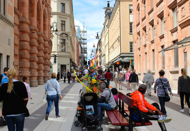 Pedestrian street downtown Stockholm