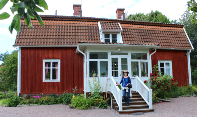 Standing in front of Astrid Lindgren's childhood home