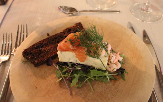Appetizer with fresh salmon at Kalmar Castle (favourite things about Sweden)