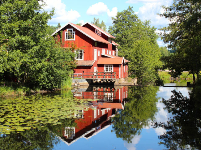 A typical Swedish house and its reflection in Mortförs village