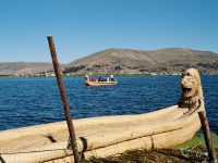 Reed boat on Lake Titicaca, Peru