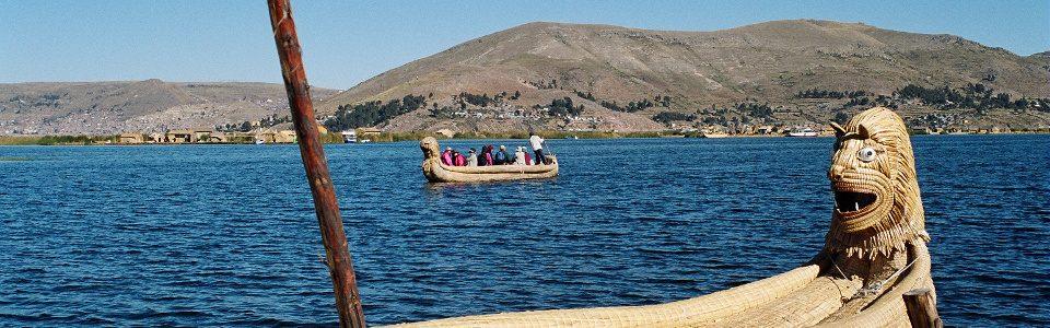 Reed boat on Lake Titicaca, Peru