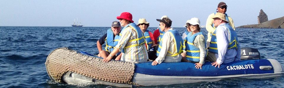 On a zodiac in the Galapagos