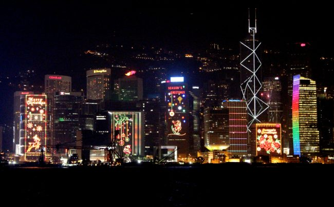 Animated Christmas light displays on Hong Kong buildings - Christmas traditions