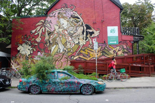 Kensington market mural and car planter (Toronto layover)
