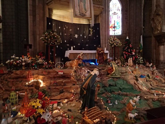 Nativity scene inside a Quito church (Ecuador) - Christmas traditions