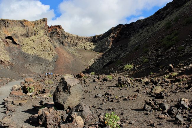 Inside the crater of Volcán del Cuervo (walking on Lanzarote)
