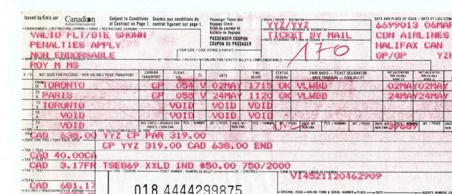 Plane ticket to Paris, first time travelling solo, 1992!