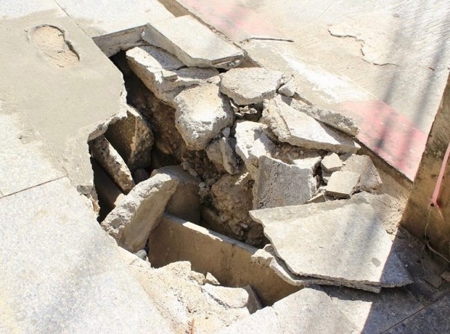 Broken sidewalk in Chiang Rai, Thailand (travelling solo)