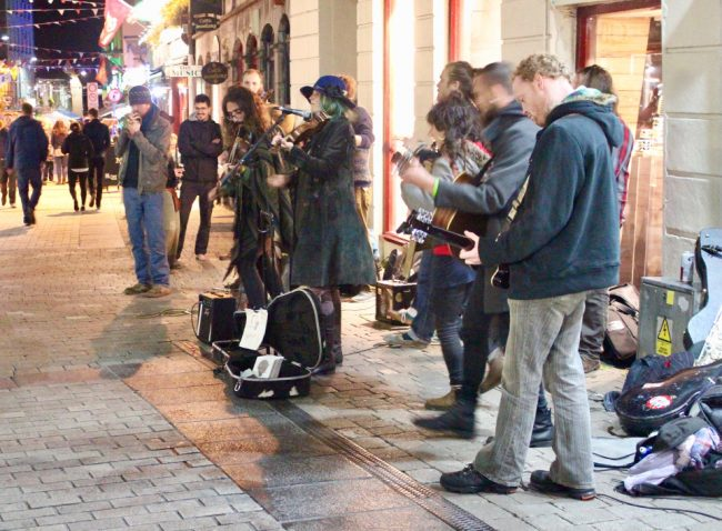 Busking musicians in Galway (impressions of Ireland)