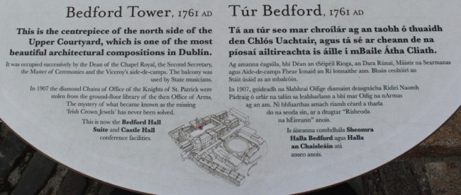 Information panel showing both English and Irish text (Dublin Castle) (impressions of Ireland)