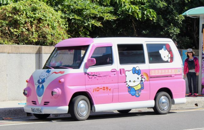 Cute Hello Kitty minivan (living in Taiwan)