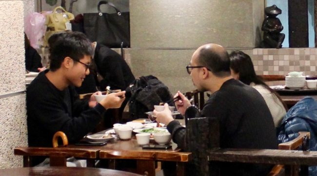Taiwanese having a meal in Taipei (living in Taiwan)