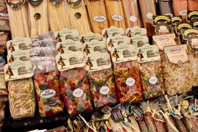 Pasta display at Campo di Fiori market (food tour in Rome)