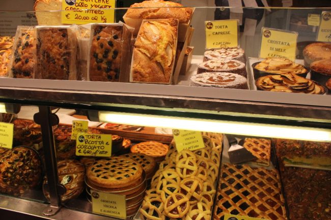 Bakery display (food tour in Rome)