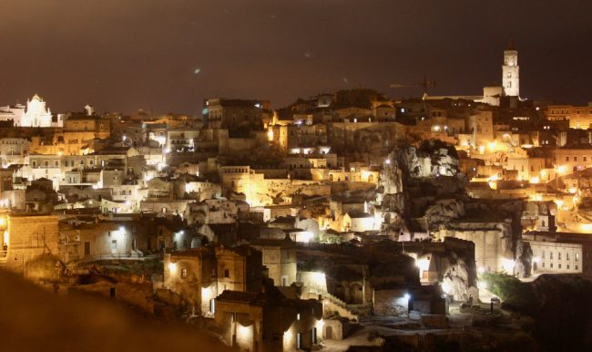 Sasso Caveoso in Matera, at night (Matera in photos)
