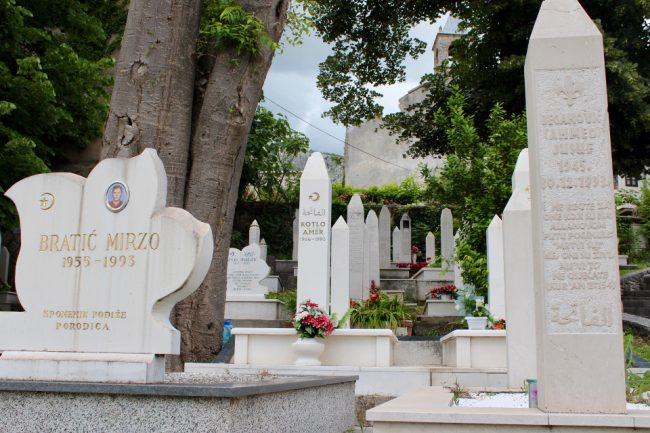 Cemetery in Mostar (solo woman in Bosnia)