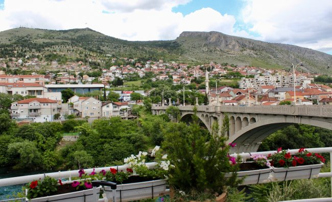View from the restaurant where I ate lunch, a few minutes from Mostar's bus station (solo woman in Bosnia)