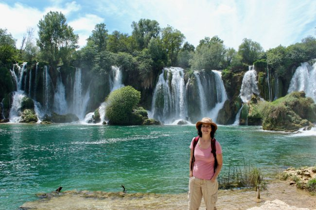 Kravice waterfalls near Mostar (solo woman in Bosnia)